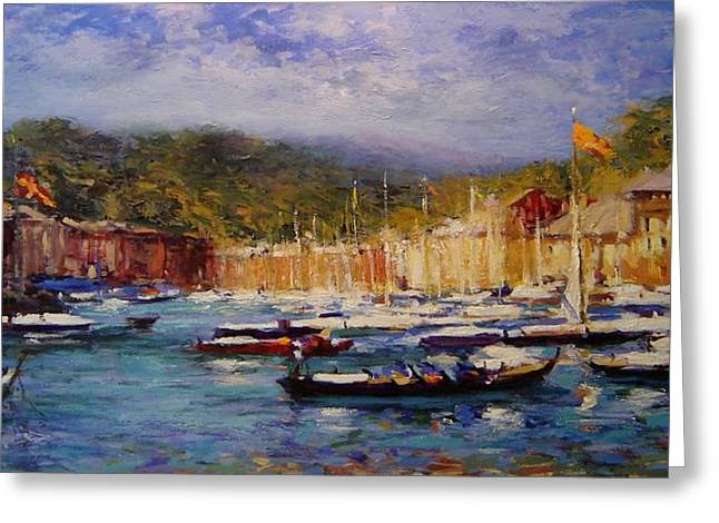 Boats At Portofino Italy  Greeting Card by R W Goetting