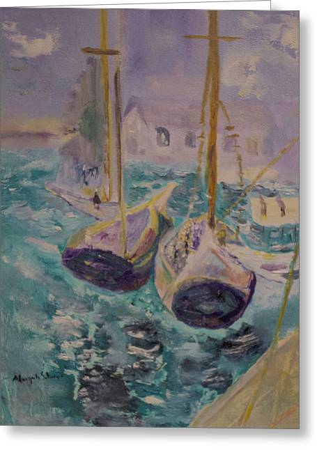 Greeting Card featuring the painting Boats At Sea by Aleezah Selinger