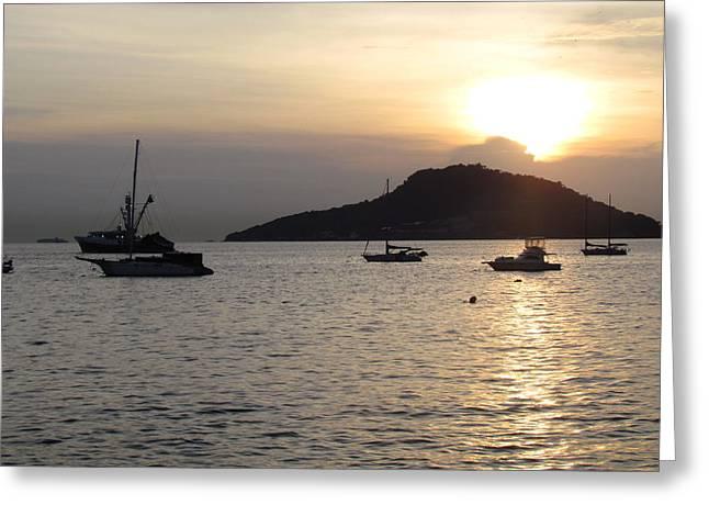 Boats At Sunrise Greeting Card