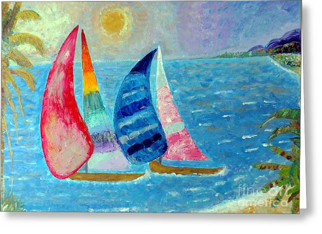Greeting Card featuring the painting Boats At Sunset 2 by Vicky Tarcau
