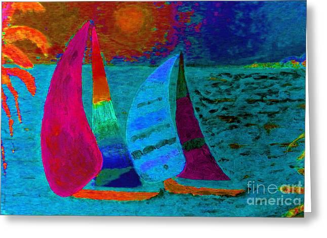 Boats At Sunset Blue Greeting Card