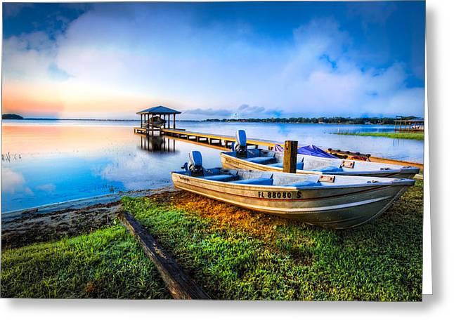 Boats At The Lake Greeting Card