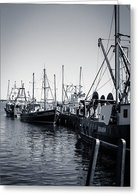 Boats At The Pier  Greeting Card