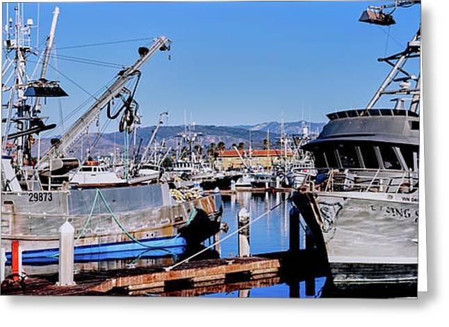 Boats At Ventura Harbor, Ventura Greeting Card by Panoramic Images