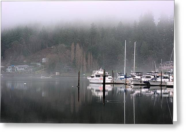 Boats Between Water And Fog Greeting Card
