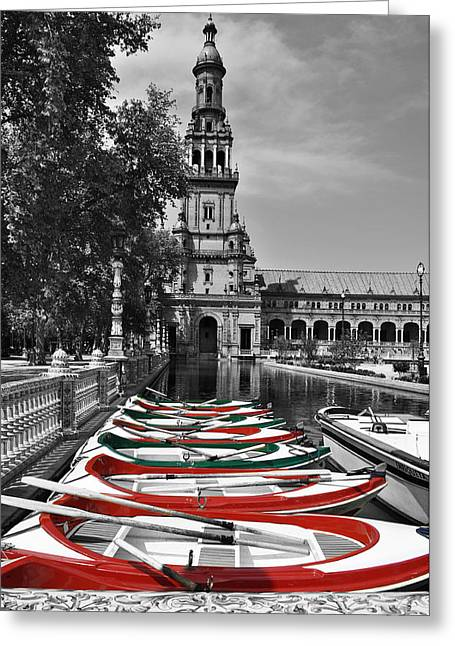 Boats By The Plaza De Espana Seville Greeting Card