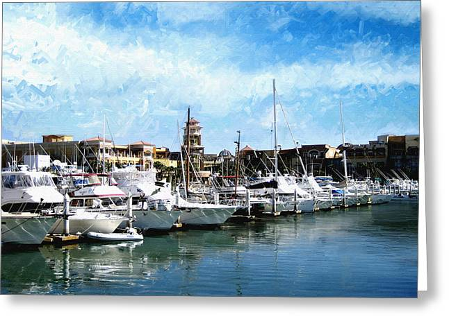 Boats Cabo San Lucas Greeting Card by Ann Powell