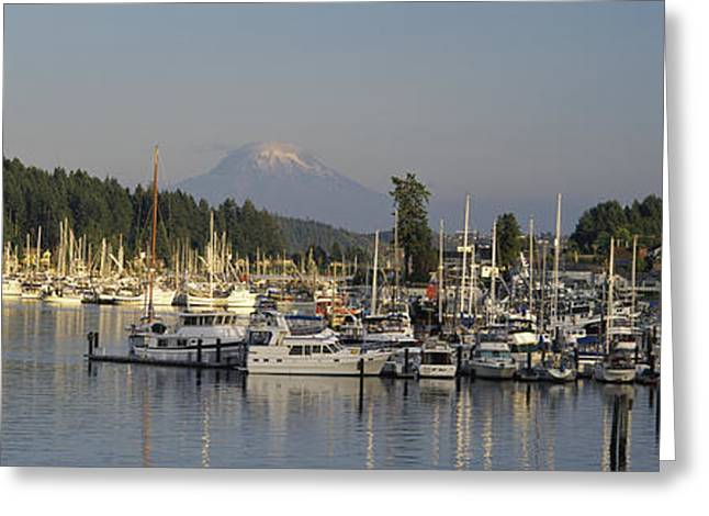 Boats Docked At A Harbor With Mountain Greeting Card by Panoramic Images