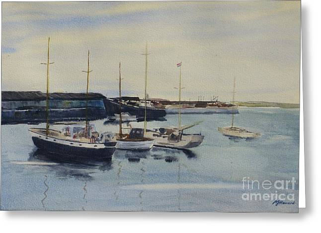 Boats In A Harbour Greeting Card