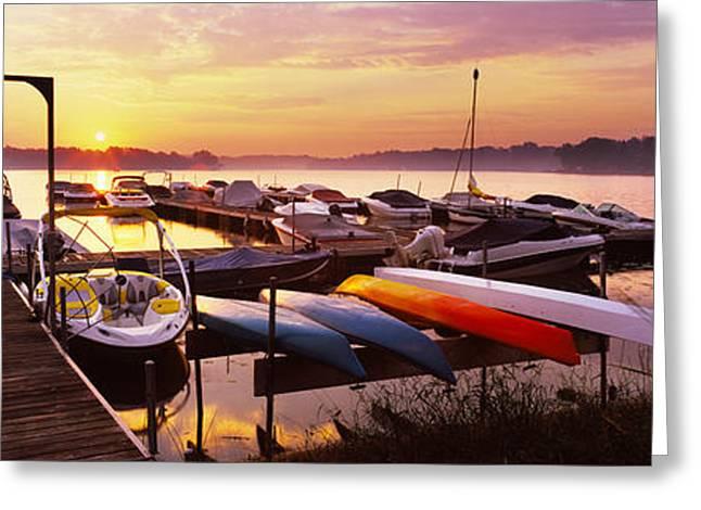 Boats In A Lake At Sunset, Lake Greeting Card