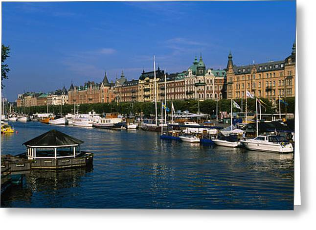 Boats In A River, Stockholm, Sweden Greeting Card by Panoramic Images
