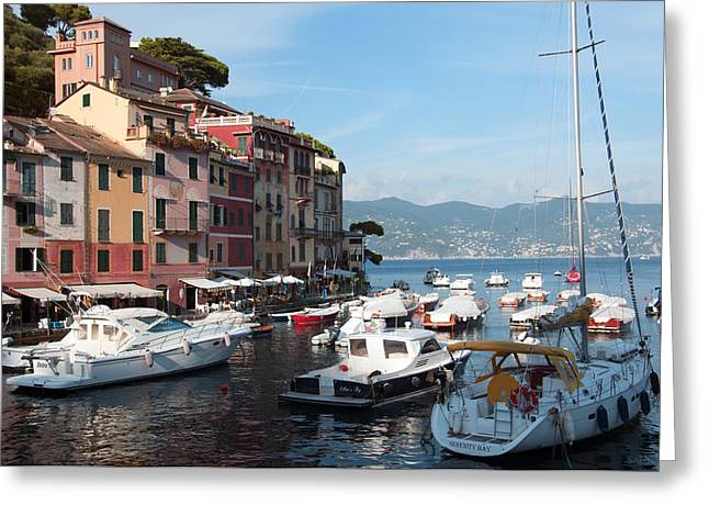 Boats In An Italian Harbor Greeting Card