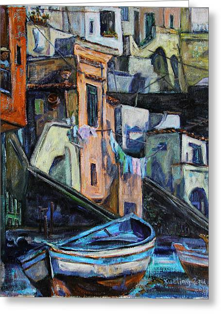 Greeting Card featuring the painting Boats In Front Of The Buildings I  by Xueling Zou