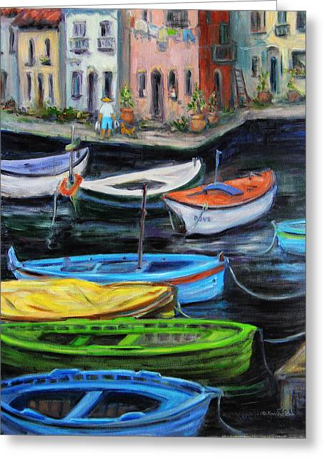 Greeting Card featuring the painting Boats In Front Of The Buildings II by Xueling Zou