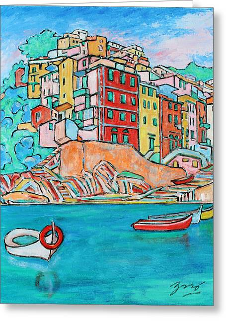 Boats In Front Of The Buildings X Greeting Card