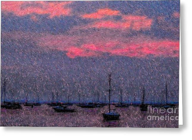 Boats In Harbor Greeting Card by Jeff Breiman
