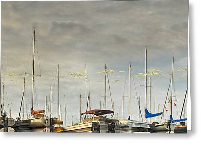 Greeting Card featuring the photograph Boats In Harbor Reflection by Peter v Quenter