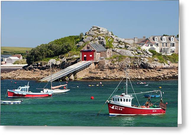 Boats In Hugh Town Harbour Greeting Card by Ashley Cooper