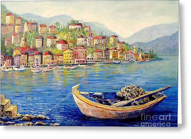Boats In Italy Greeting Card by Lou Ann Bagnall