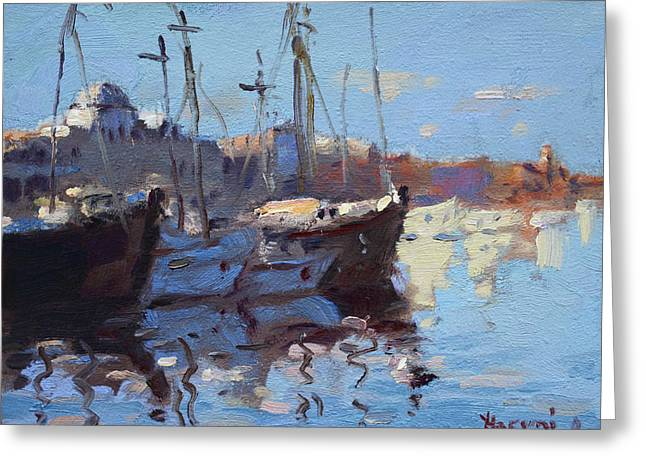 Boats In Mandraki Rhodes Greece  Greeting Card