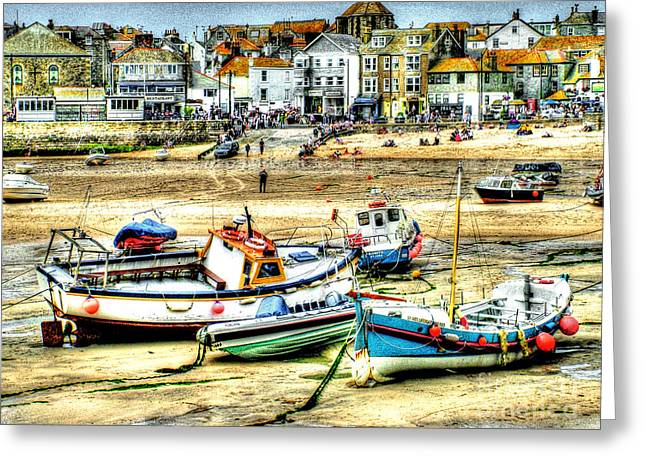 Boats In St. Ives Harbour Greeting Card by Anthony Hedger