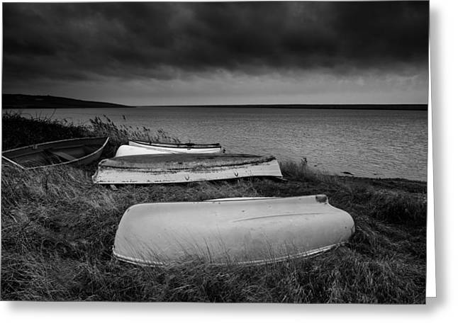 Boats In Storm Greeting Card by Matthew Gibson