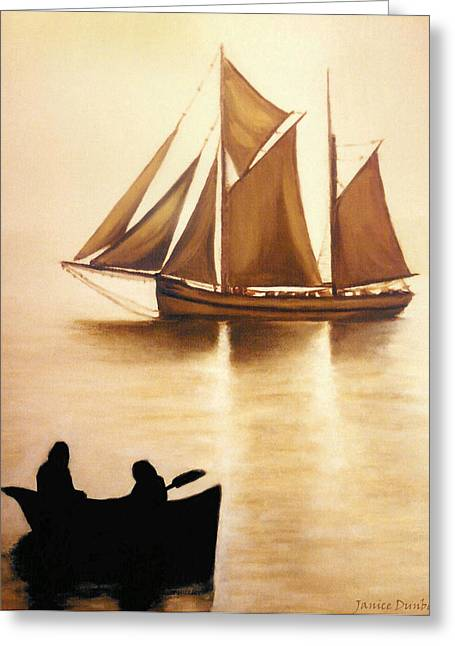 Boats In Sun Light Greeting Card