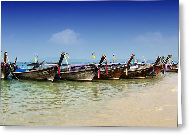 Greeting Card featuring the photograph Boats In Thailand by Zoe Ferrie