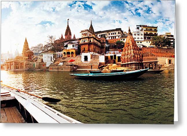 Boats In The Ganges River, Varanasi Greeting Card