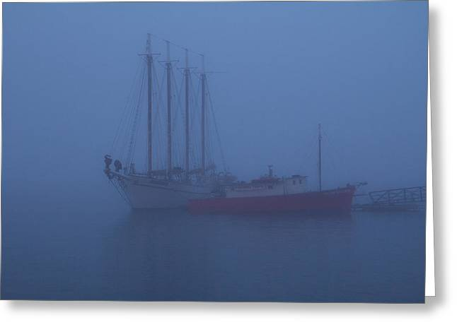 Boats In The Mist Greeting Card by Steven Bateson