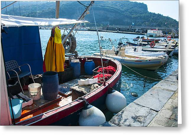 Boats In The Portovenere Harbor 2 Greeting Card