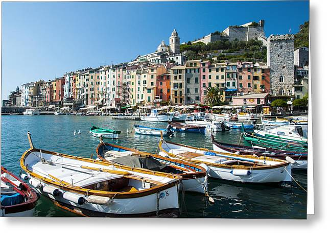 Boats In The Portovenere Harbor 3 Greeting Card