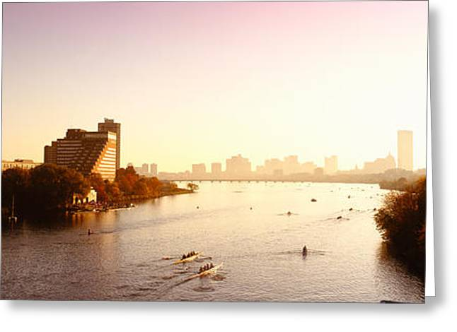 Boats In The River With Cityscape Greeting Card