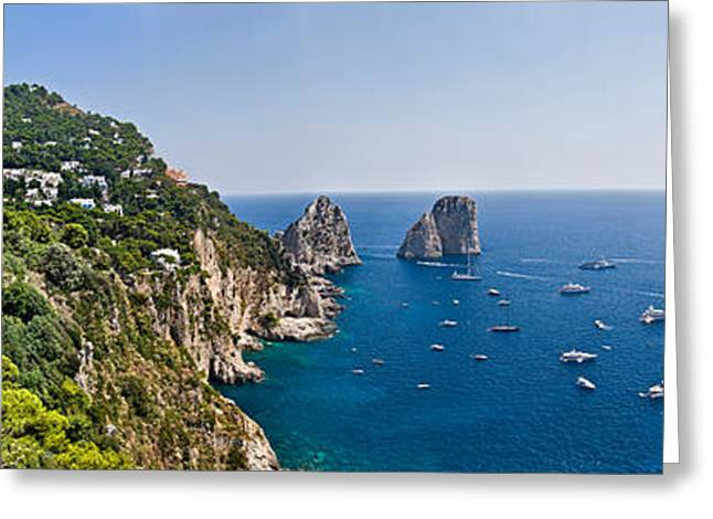 Boats In The Sea, Faraglioni, Capri Greeting Card by Panoramic Images