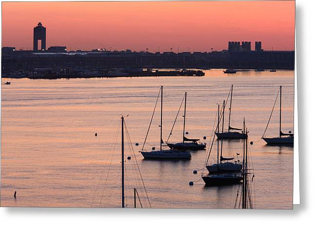 Boats In The Sea, Logan International Greeting Card by Panoramic Images