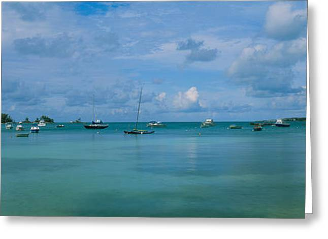 Boats In The Sea, Mangrove Bay, Sandys Greeting Card by Panoramic Images