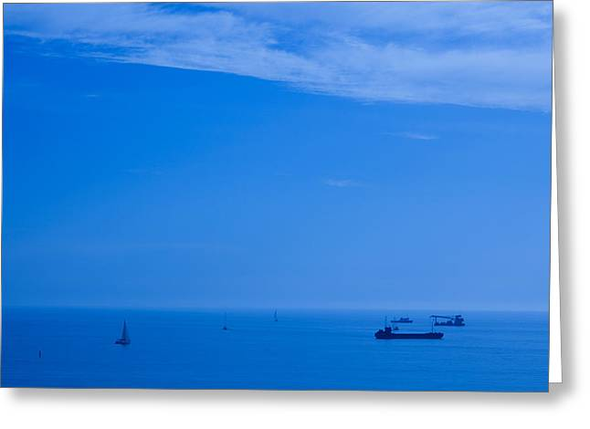 Boats In The Sea, Sochi, Black Sea Greeting Card by Panoramic Images