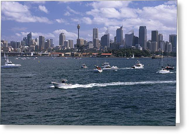 Boats In The Sea, Sydney Harbor Greeting Card