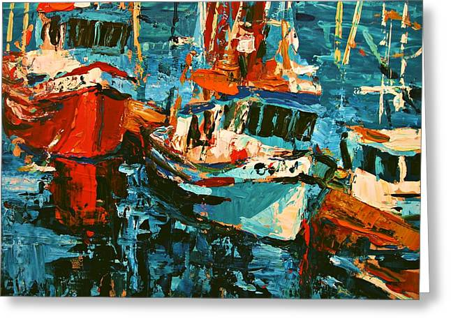 Boats In Turquoise Greeting Card by Brian Simons