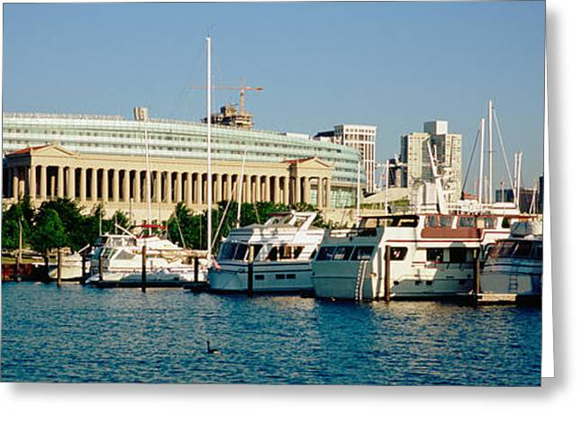 Boats Moored At A Dock, Chicago Greeting Card
