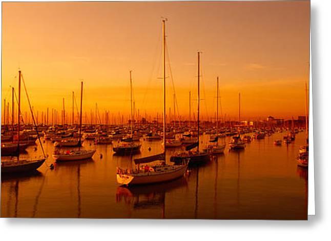 Boats Moored At A Harbor At Dusk Greeting Card by Panoramic Images
