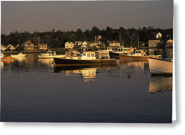 Boats Moored At A Harbor, Bass Harbor Greeting Card by Panoramic Images