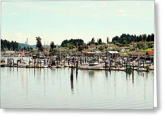 Boats Moored At A Harbor, Gig Harbor Greeting Card by Panoramic Images