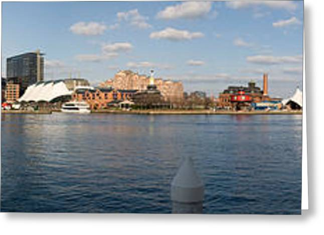 Boats Moored At A Harbor, Inner Harbor Greeting Card by Panoramic Images