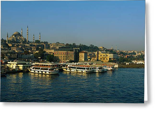 Boats Moored At A Harbor, Istanbul Greeting Card by Panoramic Images