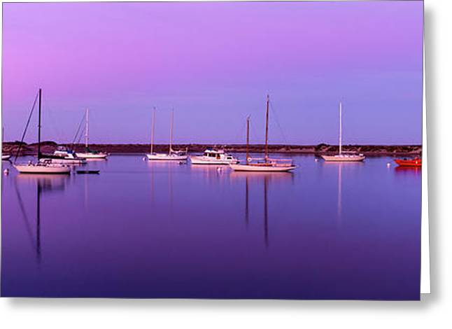 Boats Moored At A Harbor, Morro Bay Greeting Card