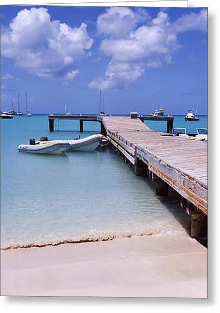 Boats Moored At A Pier, Sandy Ground Greeting Card by Panoramic Images