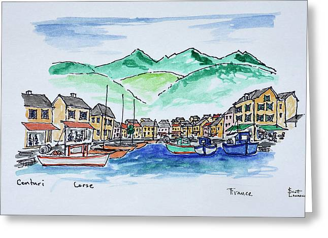 Boats Moored In The Harbor Of Centuri Greeting Card