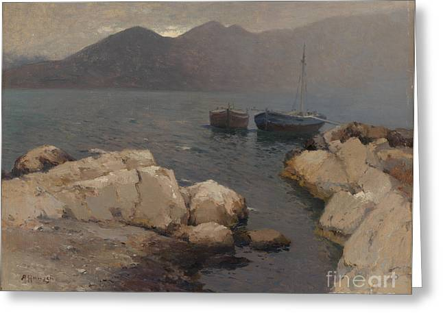 Boats Moored Off The Coast Greeting Card by Celestial Images