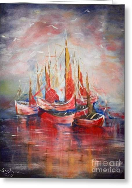 Boats Greeting Card by Nahed Ismaeil